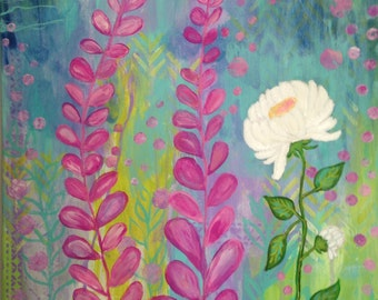 White Flower Whimsical Colorful Original Painting, Pink,  Blue, Green, Lavender, 16x20 Canvas