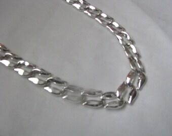 Shiny vintage silver tone Napier link necklace