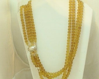 4 Strand Frosted Glass Bead Necklace Rhinestone Faux Pearl Clasp, Czech Republic