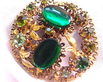 Vintage Filigree Pin with Green Rhinestones and Cabochons