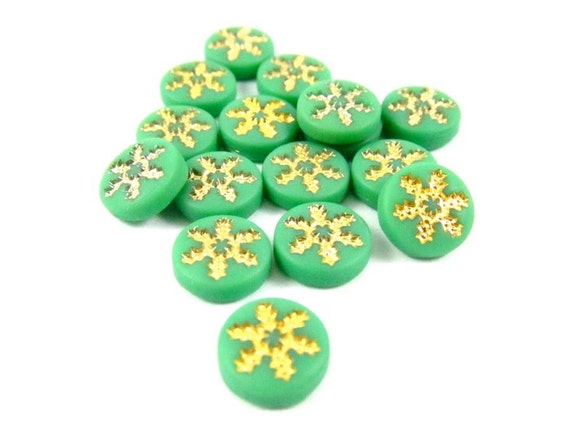 12 - Vintage Glass Cabochons with Gold Snowflake Design - Green - 7mm .
