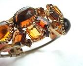 Rhinestone Faux Gemstone Jewelry Clamper Bracelet Designer Maple Honey Amber Bangle