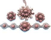 Vintage Tribal Necklace Bracelet Earrings Copper Gold Stone Sunburst Warrior Jewelry Set