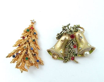 Vintage Holiday Jewelry Lot Rhinestone Christmas Tree Festive Bell Wear Repair, FREE US SHIPPING