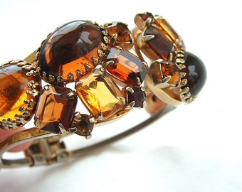 Rhinestone Faux Gemstone Jewelry Clamper Bracelet Designer Maple Honey Amber Bangle