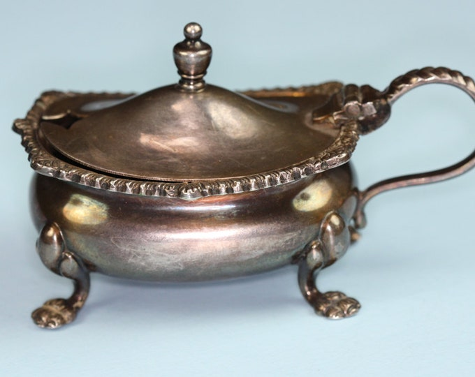 Silver Plated Mustard Pot Salt Cellar Cobalt Liner England Kingswayplate