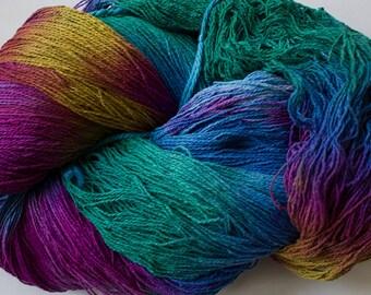 Hand-dyed Silk Yarn 2-ply, Stella:  Aurora,  1350 yds