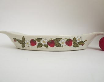 Vintage Stoneware Dish - Bake Serve 'N Store Susanne AuGratin Stoneware Dish Strawberries Blossoms and Leaves