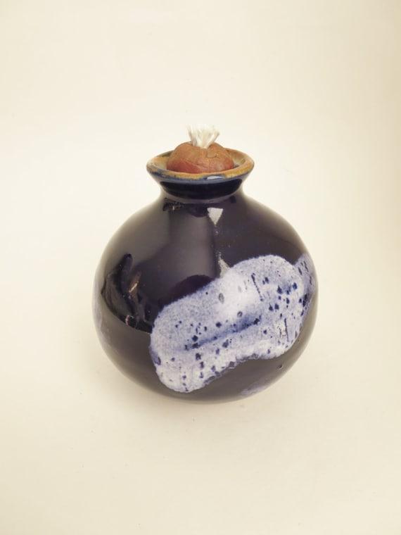 Handmade Ceramic Oil Lamps : Items similar to stoneware pottery oil lamp purple