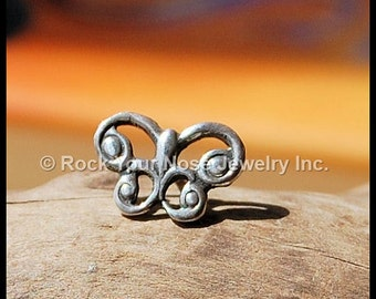 Nose Stud Silver/Celtic Jewelry/Butterfly Nose Ring/24G Nose Stud/22G Nose Stud/20G Nose Stud/18G Nose Stud/Rock Your Nose - Customize