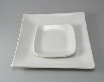 Square Appetizer Plates-Tapas Plates-Serving Tray-Pottery Platters-Tableware-White-Handmade-Set of 2-Classic White Glaze-Ready to Ship