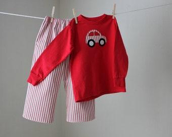 Red Stripe Pants/Shorts Set