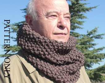 Circle Scarf  Pattern - Cowl  Knitting Pattern  -   PDF  pattern  scarf - Beginner   Digital pattern Instantdownload Pattern - diy for him