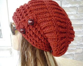 Slouchy Hat  Knit Hat  Womens hat -  Winter  hat  Womens Beanie    Slouchy Beanie Rust Orange - Womens Gift -  Winter  Accessories  Fashion