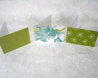 7368 // Set of 12 Mini cards in Aqua & Green made with card stock
