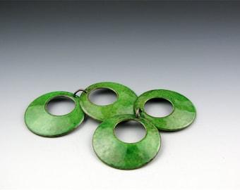 Enameled Domed Hoops  /  Emerald Green Enamel / Made to Order
