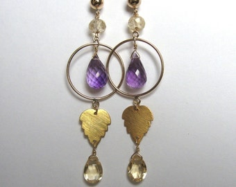 Citrine Amethyst Earrings- Gold Filled