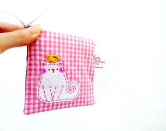 Cat Pouch, Cat Coin Purse, Coin Purse, Cat Zipper Pouch, Cat Purse, Fabric Wallet, Cotton Coin Purse - Sweet Kitty