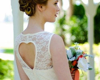 Ivory lace wedding cut out dress lace bodice and tulle skirt, heart cutout back - Other COLORS Available - AMANDA style