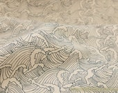 Japanese Cotton Fabric-Zen Style Traditional Neat Sketched Line Drawing Ocean Waves On Dark Beige (Fat Quarter)
