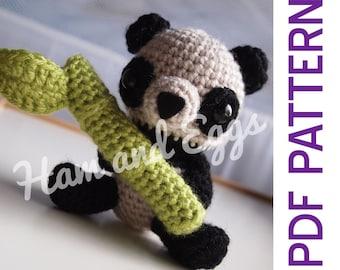 Amigurumi Crochet Baby Panda Bear and Bamboo Nursery Decorartion Toy Doll PDF Pattern