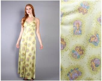 70sNovelty Print HALTER MAXI / Nouveau Nudes ZODIAC Dress, xs-s