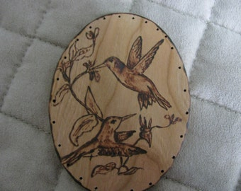Wood Burnt Image of Hummingbirds for your Basket Making or other Craft Projects