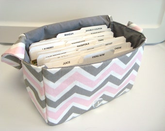 Super Large Size Coupon Organizer / Budget Organizer Holder Box - Attaches to Your Shopping Cart - Bella Chevron Zig Zag