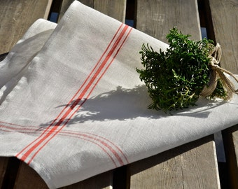 CHRISTMAS Tea Towel linen Red striped French country / shabby chic kitchen /  as seen in Better Homes and Gardens