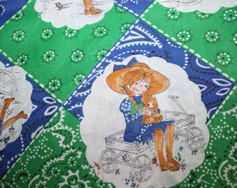 Vintage Petticoats and Pantaloons Fabric Blue Green Little Girl Fabric