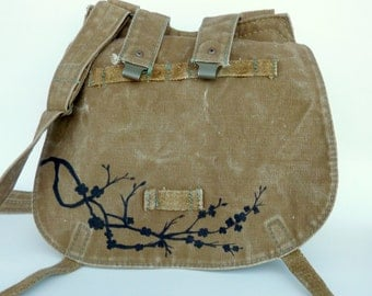 Cherry Blossoms Painted on Vintage Canvas Czech Military Messenger Bag Purse