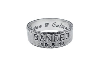 Custom Sterling Silver Banded Wedding Ring Personalized Solid Handstamped Handmade Engraved Handcrafted Jewelry Artisan Rugged Fashion Mens