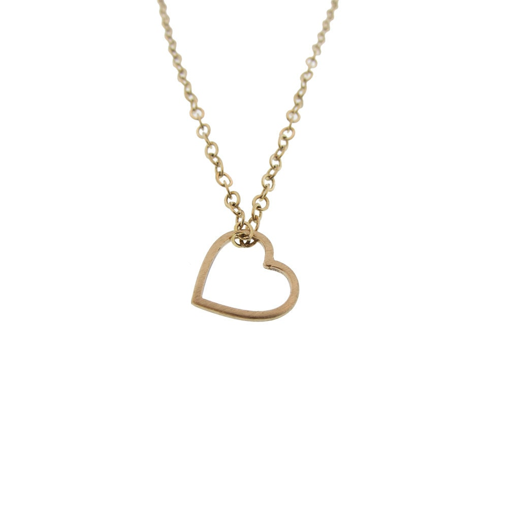 Dainty solid 14k open heart charm necklace custom gold heart for Just my style personalized jewelry studio