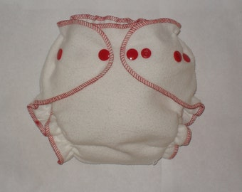 Fitted diaper bamboo zorb with red snaps