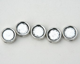 Stretch Bracelet slider bezel settings - fill with collage, photos. Antiqued silver, 13mm, Round slide blanks - use with resin, cabochons