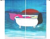 "Bath tub Mermaid shear curtains available in 60"" or 84"" lengths"