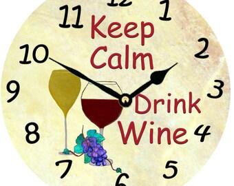 Keep Calm..Drink Wine wall clock