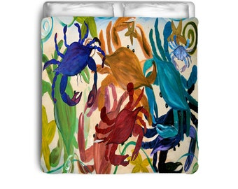 Crab Party colorful comforter from my art