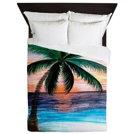 housses de couette de coucher de soleil palmier arbre par maremade. Black Bedroom Furniture Sets. Home Design Ideas