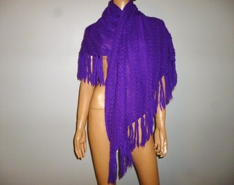 FRINGE with Benefits - Vintage 60's  -  English Village - Jewel  - Purple - Chunky - Knit - FRINGED - Acrylic - Shawl - Wrap - Sweater