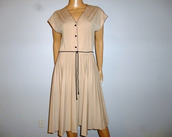 """Vintage 70's - Beige and Black - Polka Dot - Full Circle - Pleated - Swing - Disco - Nylon Jersey - Cinched - V- Neck  - Dress -  bust: 40"""""""