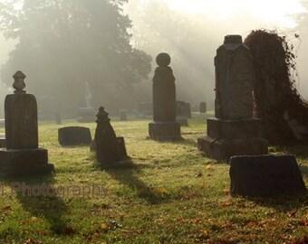 Morning mist, Fine Art Photography, Cemetery, Grave, Grave Photography, Cemetery Photography, Tombstone, tombstone art