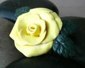 Rose Statement Ring, Rose Cocktail Ring, Adjustable Rose Ring, Flower Ring, Rose Ring, Polymer Clay Ring, Yellow Rose Ring, Yellow Ring