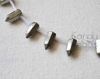 Pyrite point, Short Faceted Crystal Point, Pencil Shape, Beads 6x15mm