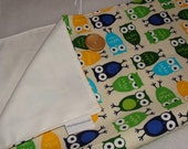 Portable Change Pad, Waterproof and Washable- Owls Blue