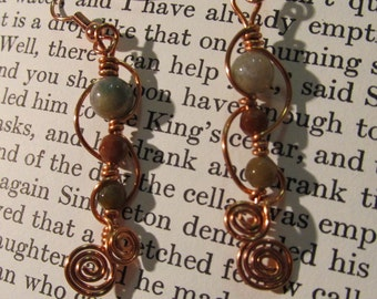 Item 2186 Jasper wire wrapped earrings