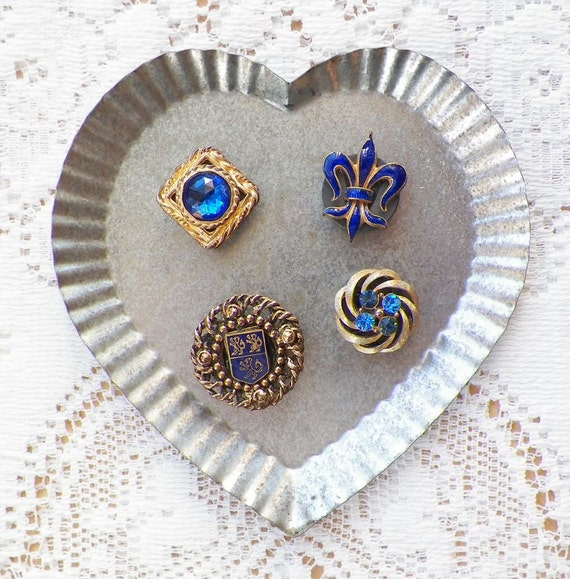 Four Royal French Blue Themed Vintage Jewelry Magnets with Fleur de Lis, Regal Shield, and Rhinestones