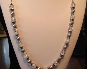 31 Inch Silver  Beaded Necklace