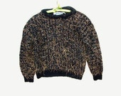 80s Mariebad Funky Hairy Fuzzy Sweater PullOver size S M Unisex Wild Animal