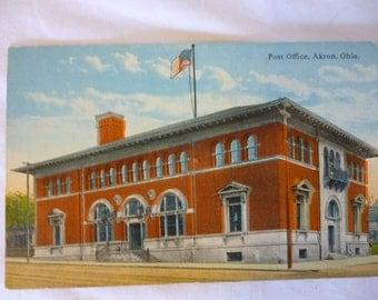 Antique Early 1900s Postcard, Post Office, Akron, Ohio, Unused